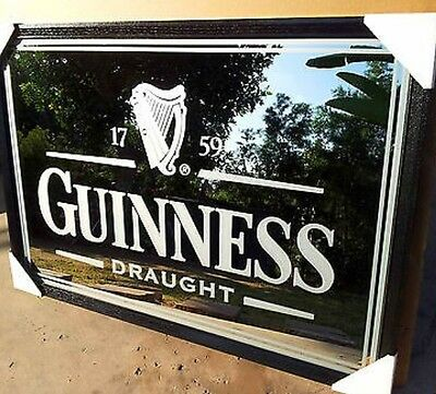 "Large Guinness Draught Beer Bar Frost Mirror Irish Pub Sign Brand New 40""X28"""