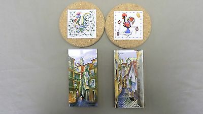 44D Vtg 4 Portugal Hand Painted Tiles 2 3x6 Rectangles & 2 Coasters Cork Backed