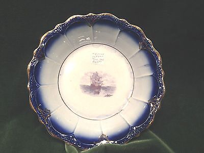 "La Francaise Flow Blue Semi Vitreous Porcelain China 9 1/2"" Round Bowl with Ship"