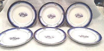 "6 La Francaise Flow Blue Semi Vitreous Porcelain China 7"" Bread Dessert Plates"