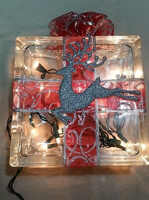 Lighted Glass Block Christmas Decoration wrapped as a Present