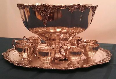 Wallace Baroque Silverplate Punch Bowl Set with Charger and Nine Cups  STUNNING!