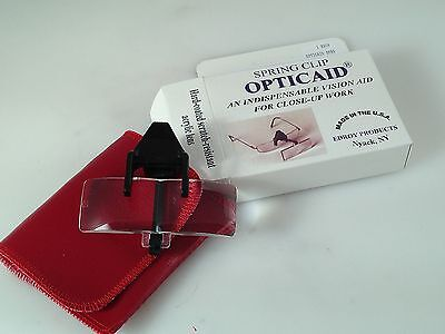"Opticaid Magnifier Clip on Hard Coated Scratch resistant 3.5 X 4"" working dist"