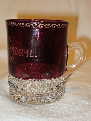 Heisey Punty Band Ruby Stain Tumbler