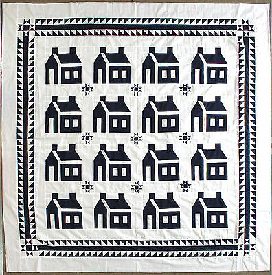 Blue & White School house w/ Ohio stars & great borders quilt top -  Queen sized