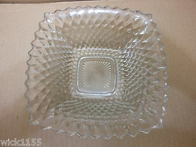 "VGC Vintage Federal Glass Co. Clear Glass 8 "" Square Diamond Quilt Pattern Dish"