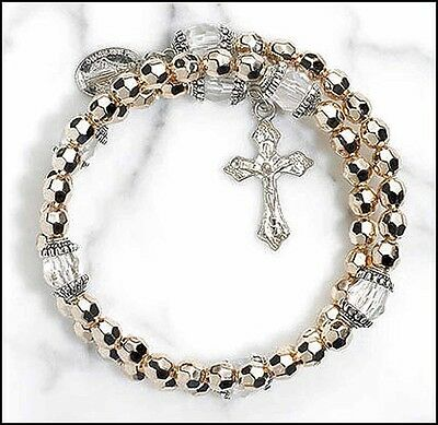 Gold Colored Wrap Style Rosary Bracelet