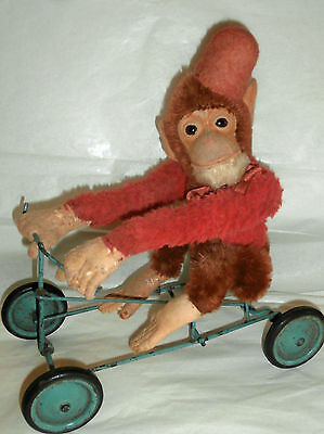 ESTATE/old .BELLHOP  Mechanical Monkey Riding on Velocipede  12 inches