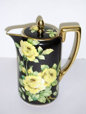 NIPPON NORITAKE HAND PAINTED ROSES GILDED CHOCOLATE POT