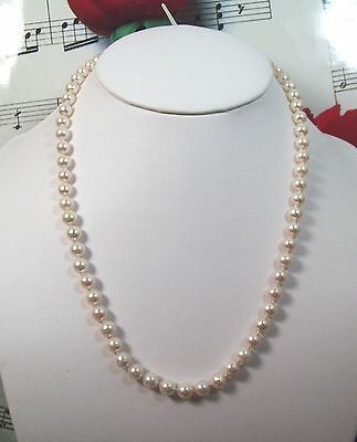 "Genuine Cultured Pearls 6 6 1/2mm Necklace 16"" With 14k Clasp.CPNK002"