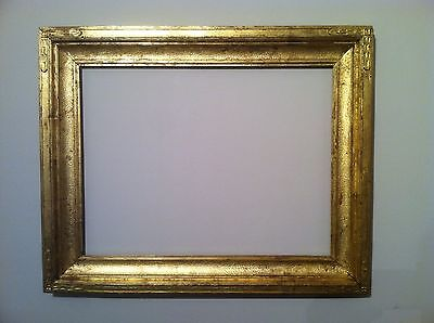Antique 21x16 Gold Leaf Arts Crafts Newcomb Macklin Style Carved Picture Frame