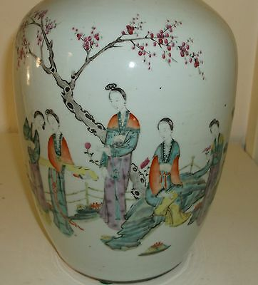 ANTIQUE CHINESE QING EARLY REPUBLIC PORCELAIN LIDDED JAR SIGNED CALLIGRAPHY POEM