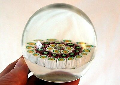 Vintage Clear Glass Millefiori Paperweight Made in Italy
