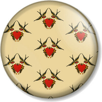 "Sailor Jerry Design 1"" 25mm Pin Button Badge Swallow Heart Pattern Tattoo Retro"
