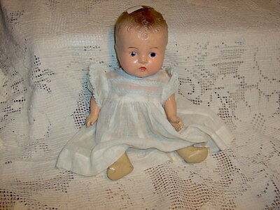 VINTAGE  COMPOSITION  BABY  DOLL  UNMARKED  WITH  DRESS