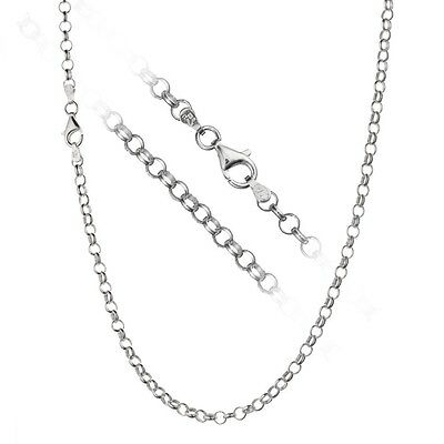 Solid 925 Sterling Silver 4mm Italian Rolo Link Cable Chain Necklace ALL SIZES