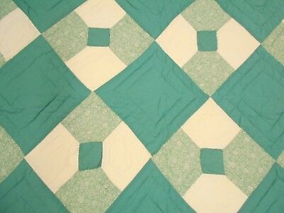 Vintage Antique TEAL HAND STITCHED & QUILTED BOW TIE Neck Tie Queen Quilt 94x80