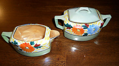Chikusa Gold Castle Hand Painted Green & Floral Sugar and Creamer - Japan
