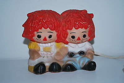 Vintage Raggedy Ann and Andy nightlight - Nan San - plastic - works