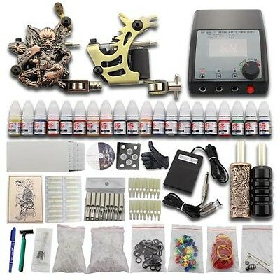 Tattoo Kit Completi per Tatuaggi 2 Machine Macchinette 20 Color Power Supply J28