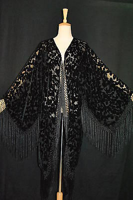 D0016 Classic Black Flower Burnout Silk Velvet Fringe Jacket Coat Duster