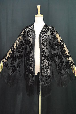 E0022 Classic Black Burnout Silk Velvet Fringe Jacket kimonos Coat Duster