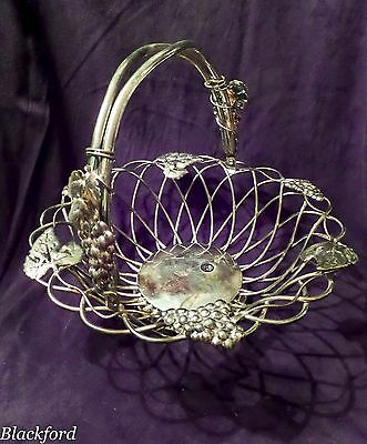 GODINGER SILVERPLAT FRUIT BASKET WITH GRAPE VINES AND GRAPE CLUSTERS