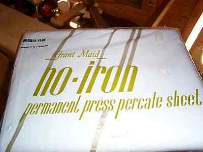 Vintage GRANT MAID DOUBLE FULL FLAT SHEET NO IRON PERCALE PERMANENT PRESS NEW