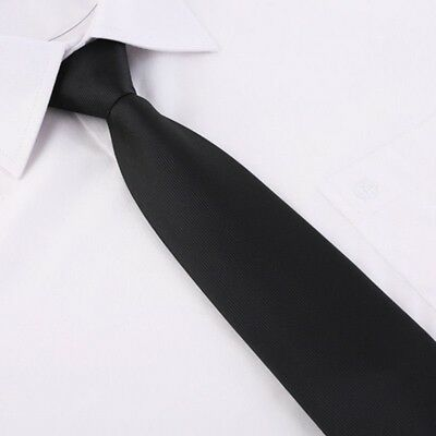 Black Plain Clip On Tie Security Doorman Bouncer Funeral Wedding - High Quality