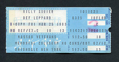 1983 Def Leppard Billy Squier concert ticket stub Pyromania Tour Rock of Ages