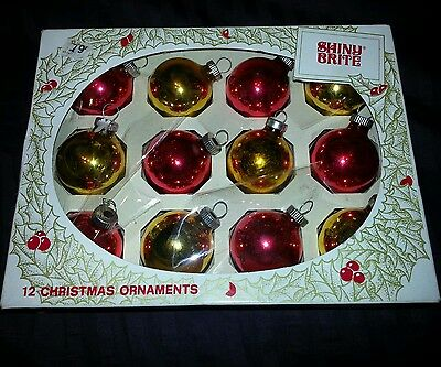 12 VINTAGE CHRISTMAS DECORATIONS  ORNAMENTS HOLIDAY SHINY BRITE