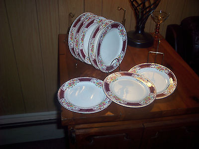 "8 Vtg Homer Laughlin 7"" Brittany Majestic Bread Plates Maroon Flowers Dinnerware"