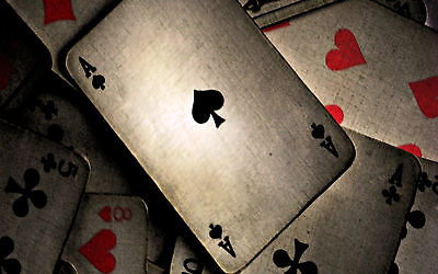 Framed Print - Playing Cards Vintage Style (Picture Poster Ace of Spades Hearts)