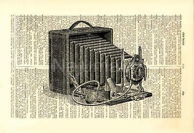 Upcycled Vintage Dictionary Book Page Wall Art Print - Vintage Photo Camera 2