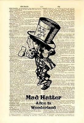 Upcycled Vintage Dictionary Book Wall Art Print - Alice in Wonderland Mad Hatter