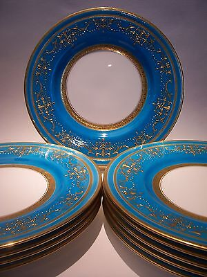 MINTON RAISED GOLD ENCRUSTED PLATES FOR TIFFANY TURQUOISE SET OF 10  NEAR MINT!