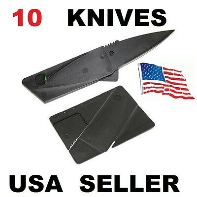10 x Credit Card Knives Lot folding, wallet thin pocket survival micro knife EDC