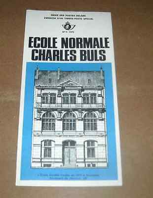 1975 Timbres Ecole Normale Charles Buls Avec Feuillet D'emission Special