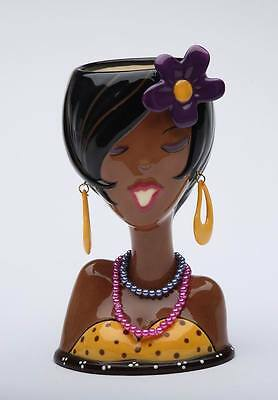 MODERNISTIC BLACK AFRICAN AMERICAN WOMAN HEAD VASE MAKEUP HOLDER AC 62803 AB