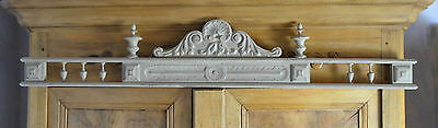 Antique French carved wooden pediment or fronton, grey green scuffed paint, wide