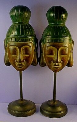 PAIR VINTAGE CHINESE REPUBLIC PERIOD CARVED WOOD GUANYIN MASKS ON DISPLAY STANDS