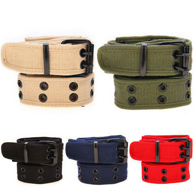 New Mens Womens Webbing Woven Canvas Pin Buckle Waist Belt 28To40 Inch