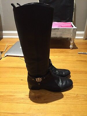 Tory Burch Black Riding Boots Size 7.5