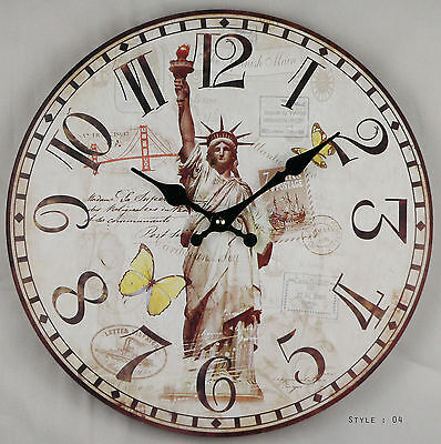 Large Vintage Rustic French Wall Clock-Kitchen Shabby Chic Retro-STATUE OF LIBER