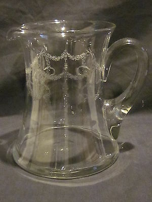 Central Glass Works Del Solar's Wreath (etch 14) Pitcher