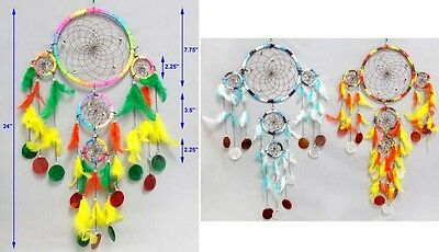Hand Made Tribal  Dream Catchers Wall Decorations 3-Tier  6Pc Lot  (ENpDc128W)