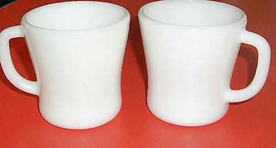 Pair of UNUSED White Mugs by FEDERAL GLASS, 1950's, FREE SHIPPING!