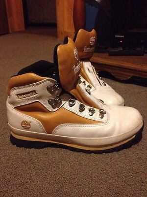Mens White And Tan Timberland Boots Size 8.5