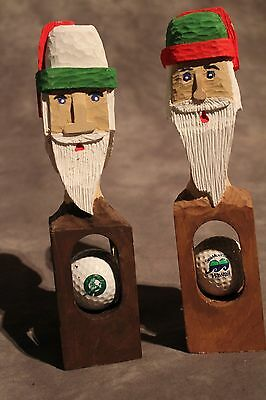 Set of 2 Hand Carved Santa Golf Gift Golf Ball in Wood Sculpture ManCave Office