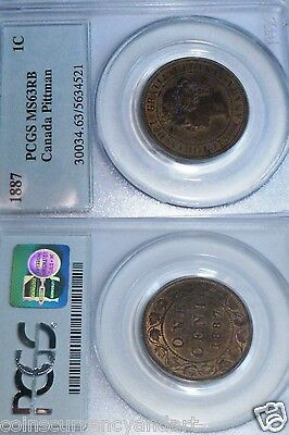 1887 Canada LARGE CENT  Certified By  PCGS MS63  From PITMAN Collection